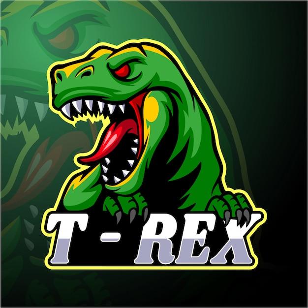 恐竜のeスポーツのロゴマスコットデザイン