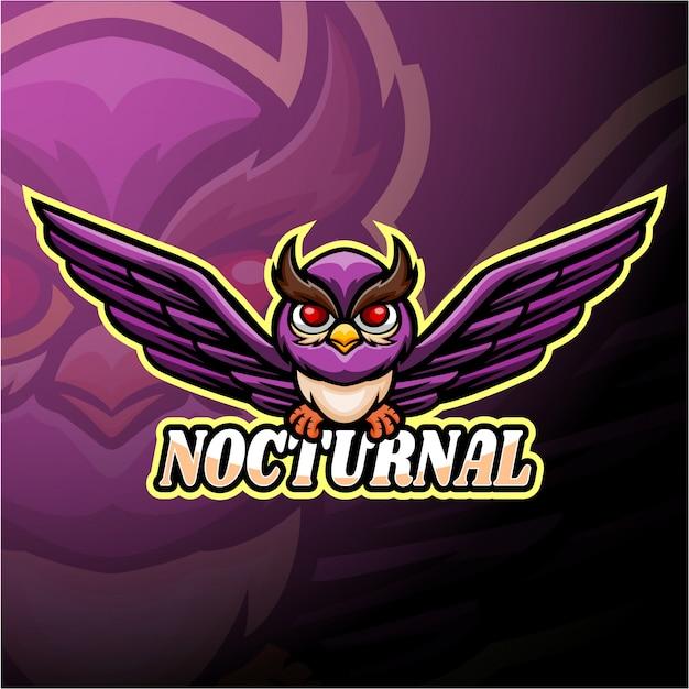 夜行性のeスポーツのロゴのマスコットデザイン