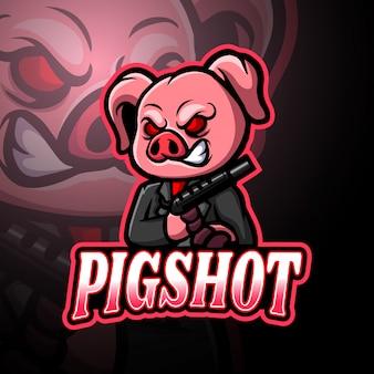 豚のeスポーツロゴマスコットデザイン