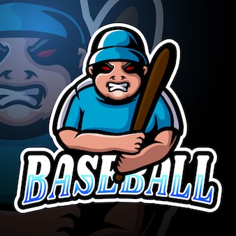 野球選手のeスポーツロゴマスコットデザイン