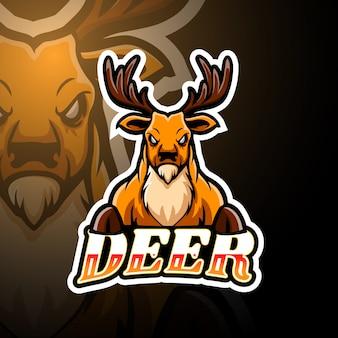 鹿のeスポーツのロゴのマスコットデザイン