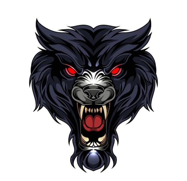 オオカミの頭eスポーツマスコットロゴ