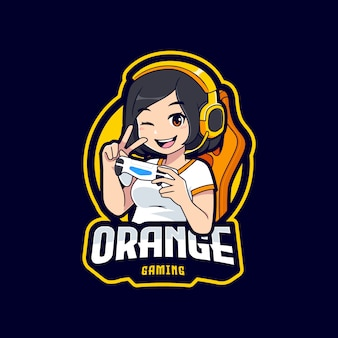 ゲーマーガールキャラクターのeスポーツのロゴのテンプレート
