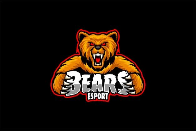 怒っているクマのロゴeスポーツ