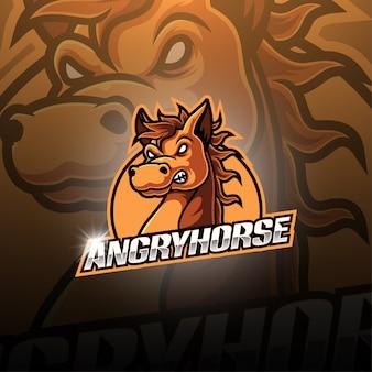 怒っている馬のeスポーツマスコットロゴデザイン