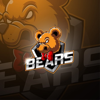 クマのeスポーツマスコットロゴデザイン