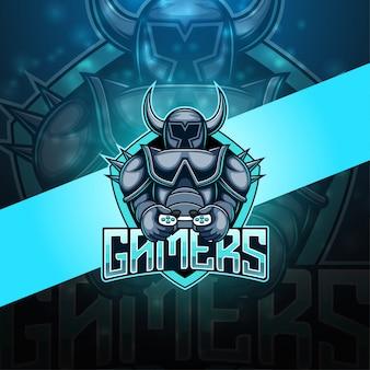 ゲーマーのeスポーツマスコットロゴ