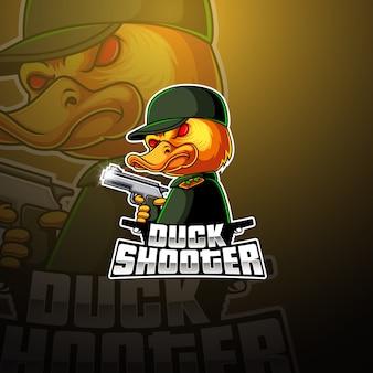 アヒルのシューティングゲームeスポーツマスコットロゴデザイン