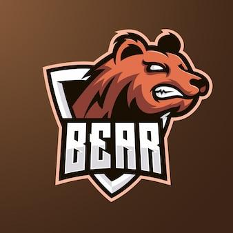 クマのマスコットeスポーツのロゴ