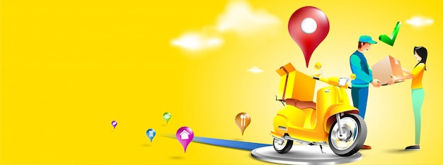携帯電話でのスクーターによる高速配達パッケージ。アプリごとにeコマースのパッケージを注文します。宅配便は、オートバイでパッケージを送信します。三次元のコンセプト。ベクトル図