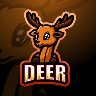 鹿の頭のマスコットのeスポーツのロゴデザイン