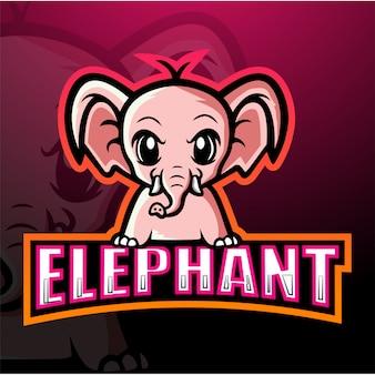 象のマスコットeスポーツイラスト