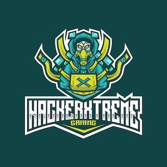 ハッカーエクストリームeスポーツのロゴのテンプレート
