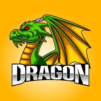 怒っているドラゴンeスポーツマスコットロゴデザイン