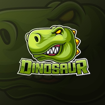 怒っている恐竜ヘッドマスコットeスポーツロゴデザイン
