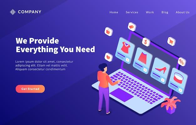 ウェブサイトテンプレートまたはランディングホームページ用のさまざまな製品サービスを使用したeコマースビジネスプロモーション