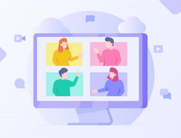 コンピューター画面のウェビナー学生コミュニケーションeラーニングとモダンなフラット漫画のスタイル。