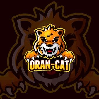 オレンジ色の猫漫画eスポーツロゴ