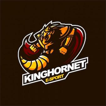 キングホーネットeスポーツゲーミングマスコットのロゴのテンプレート