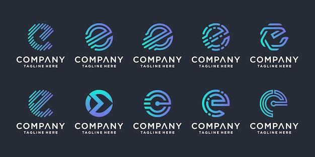 創造的な手紙eロゴデザインインスピレーションのセット