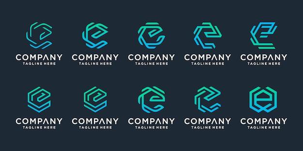 創造的な手紙eロゴテンプレートのセット。豪華でエレガント、シンプルなビジネスのためのアイコン。