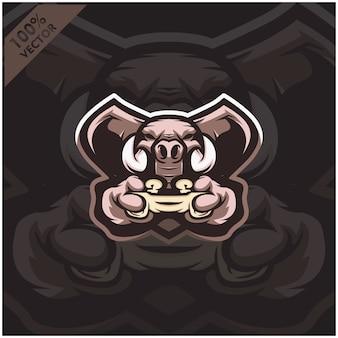 象のゲーマーがゲームコンソールのジョイスティックを保持しています。 eスポーツチームのマスコットロゴデザイン。