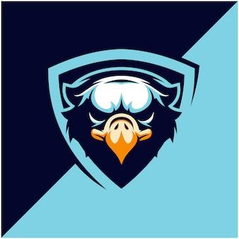 スポーツまたはeスポーツチームのイーグルヘッドのロゴ。