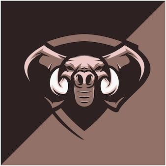 スポーツまたはeスポーツチームの象の頭のロゴ。