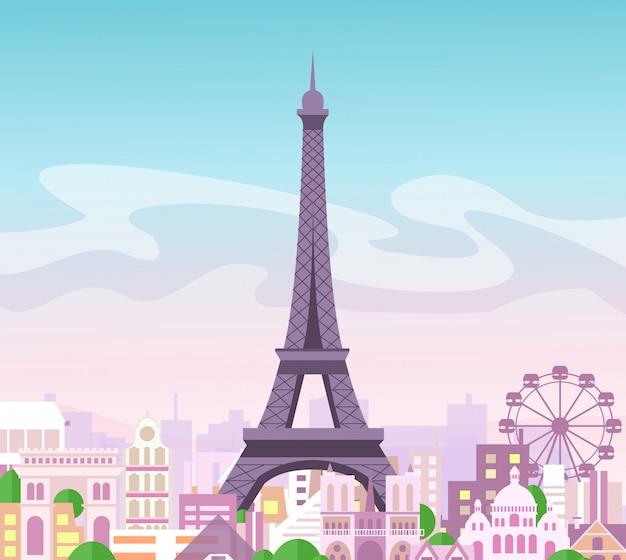 Иллюстрация красивого вида на город горизонта с зданиями и деревьями в пастельных тонах. символ парижа в милый e с городом и эйфелева башня, франция.