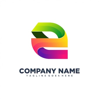 E начальный цвет полный логотип