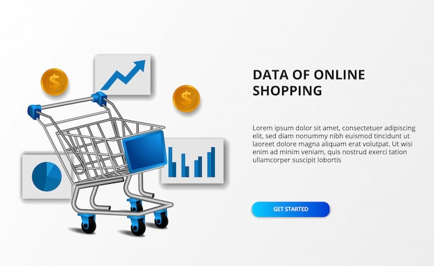 オンラインショッピングのeコマースのデータ。データグラフと黄金のお金でショッピングトロリーのイラスト。