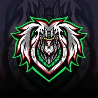 保護用の白いドラゴンのeスポーツゲーミングマスコットロゴ