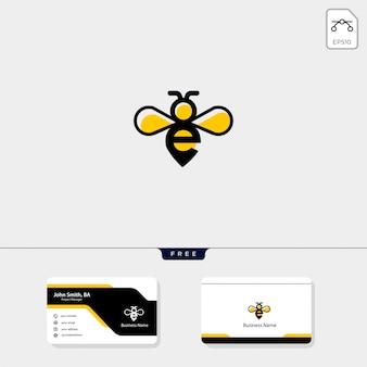 イニシャルeとハチのロゴテンプレート