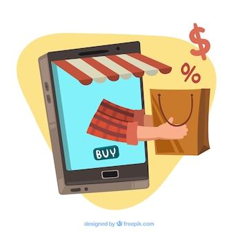 モバイルとショッピングバッグを備えたeコマースの背景