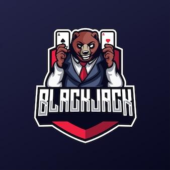 カジノベアブラックジャックとカードのeスポーツロゴ
