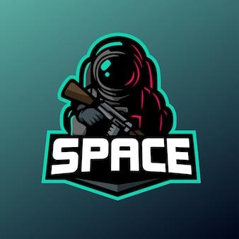 スポーツとeスポーツのロゴの宇宙兵のマスコット