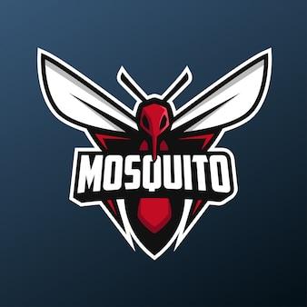 暗い背景に分離されたスポーツとeスポーツのロゴの蚊マスコット