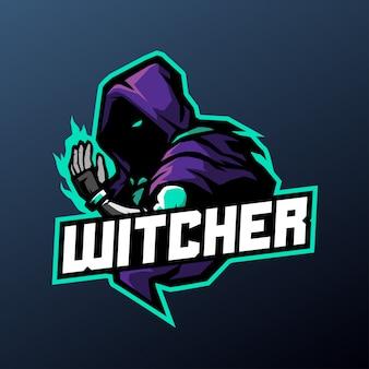 暗い背景に分離されたスポーツとeスポーツのロゴのウィッチャーマスコットイラスト