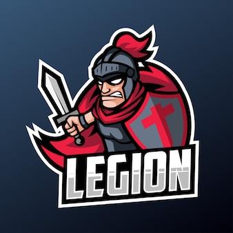 スポーツとeスポーツのロゴのローマ騎士軍