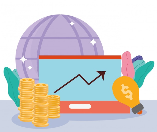 オンライン決済、ラップトップコイン世界の創造性、eコマースマーケットショッピング、モバイルアプリの図