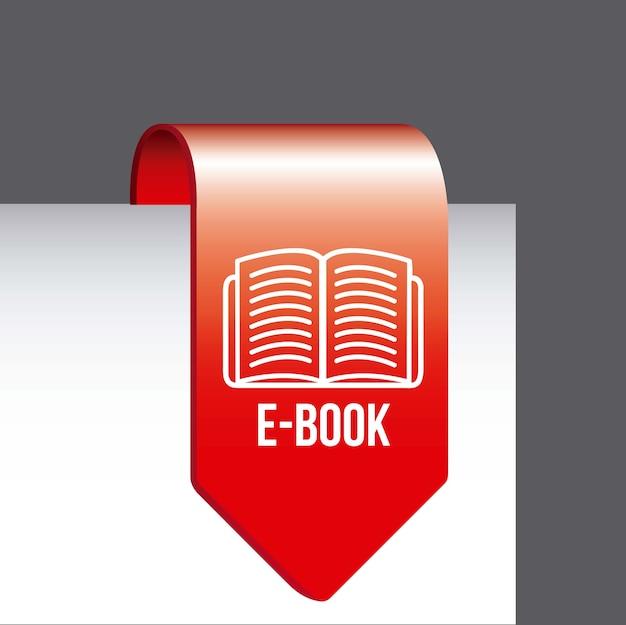 Eブックボタン、グレーの背景ベクトル図
