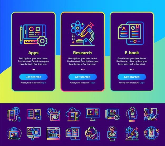 教育とeラーニングのイラストセットのオンボーディングアプリ画面