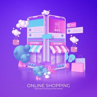 オンラインショッピングのeコマースのコンセプトです。スマートフォンでオンラインでビジネスオーダーアイテムストア。