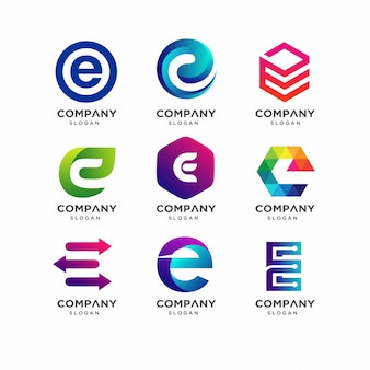 Буква e коллекция шаблонов логотипа