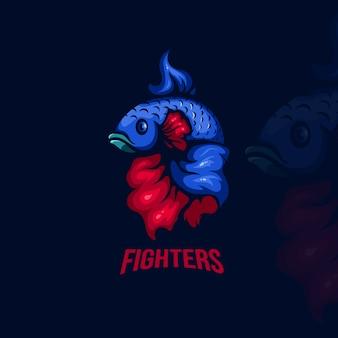 赤と青のベタの魚のeスポーツのロゴ