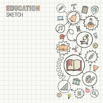 教育の手は、紙に設定された統合アイコンを描画します。カラフルなスケッチインフォグラフィックサークルイラスト。接続された落書きピクトグラム。ソーシャル、eラーニング、学習、メディア、知識インタラクティブな概念