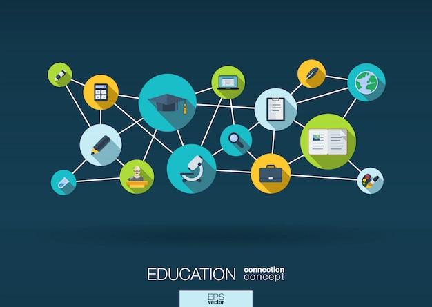 教育ネットワーク。線、円および統合アイコンと成長の抽象的な背景。 eラーニング、知識、学習、グローバルコンセプトの接続されたシンボル。インタラクティブなイラスト