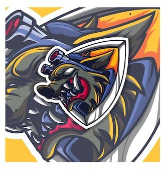 怖いオオカミeスポーツロゴ