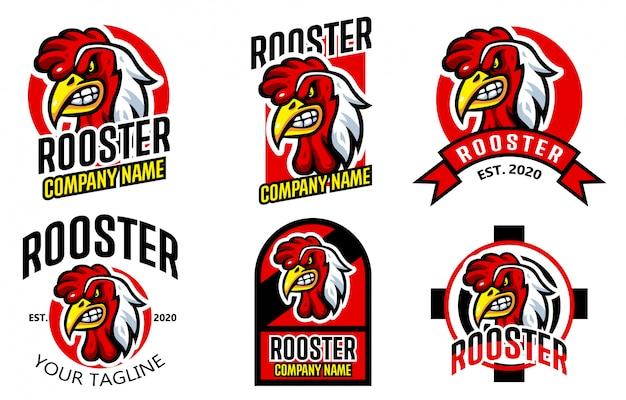 オンドリeスポーツチキンレストランのロゴのテンプレートを設定します