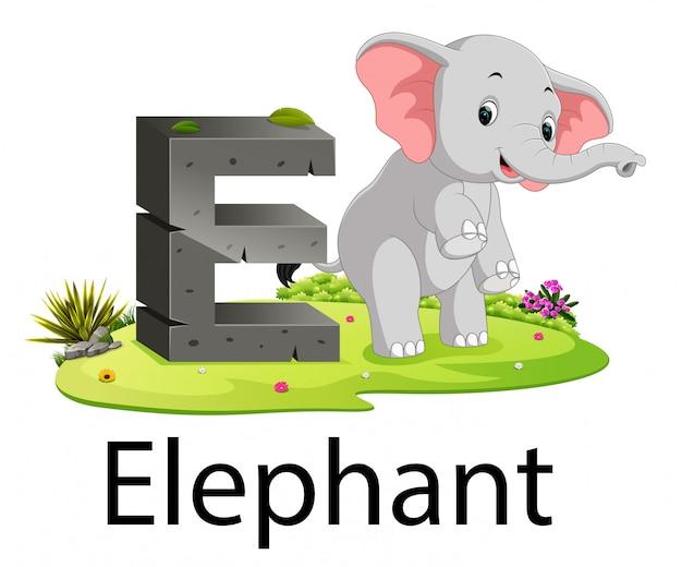 動物の横にある象と動物園動物アルファベットe